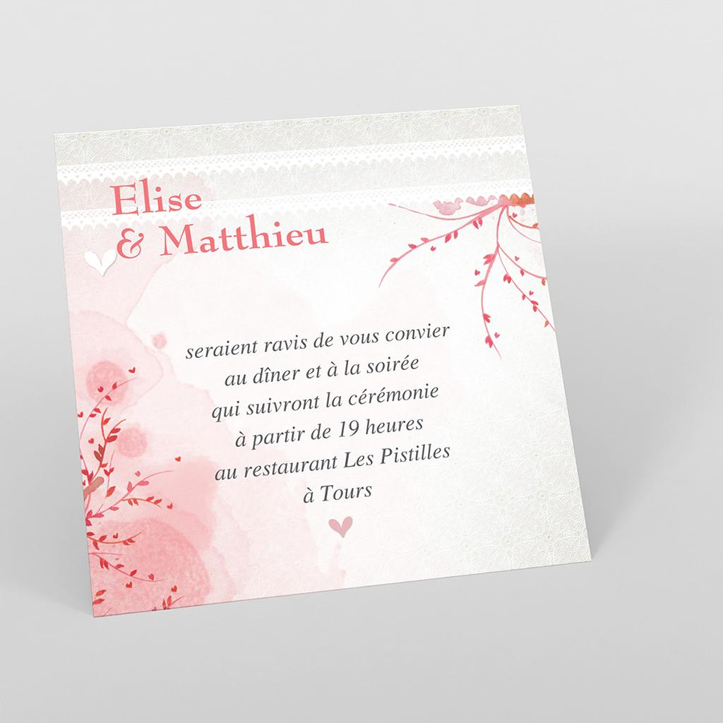 Carte d'invitation mariage Au bois dormant