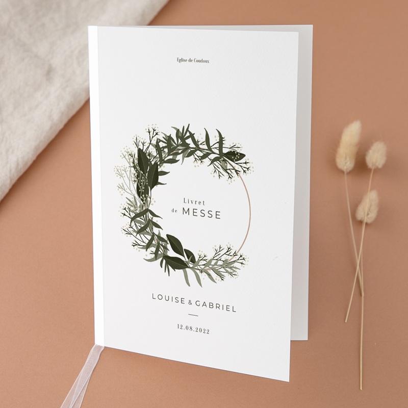 Livret de messe mariage Harmonie Végétale, Couverture Livret