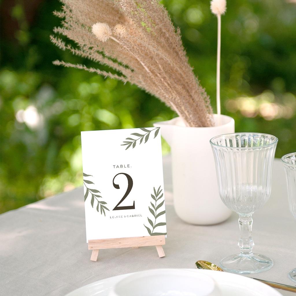Marque table mariage Harmonie Végétale, lot de 3 gratuit