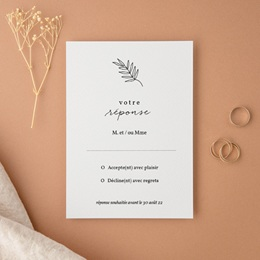 Carton réponse mariage Brins minimalistes, noir & blanc, Rsvp