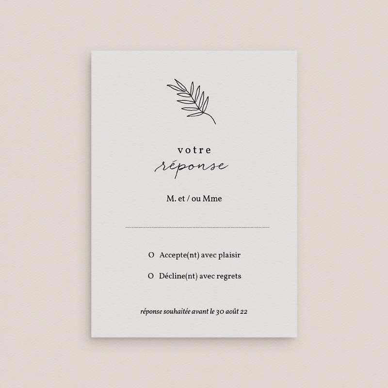 Carton réponse mariage Brins minimalistes, noir & blanc, Rsvp gratuit