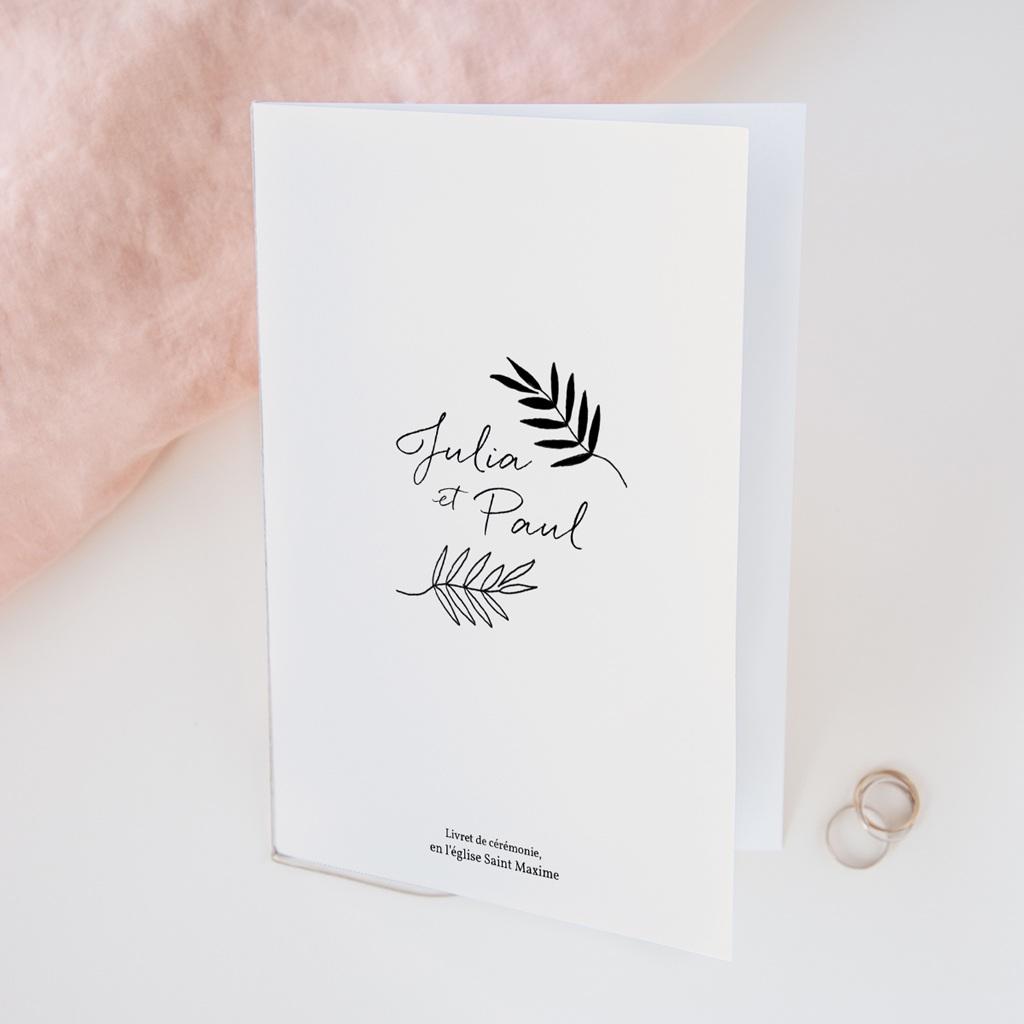 Livret de messe mariage Brins minimalistes, noir & blanc, 15 x 22