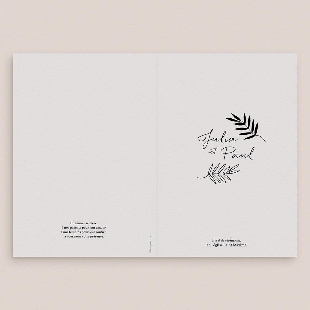 Livret de messe mariage Brins minimalistes, noir & blanc, 15 x 22 gratuit