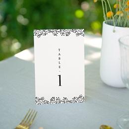 Marque table mariage Brins minimalistes, noir & blanc, x 3