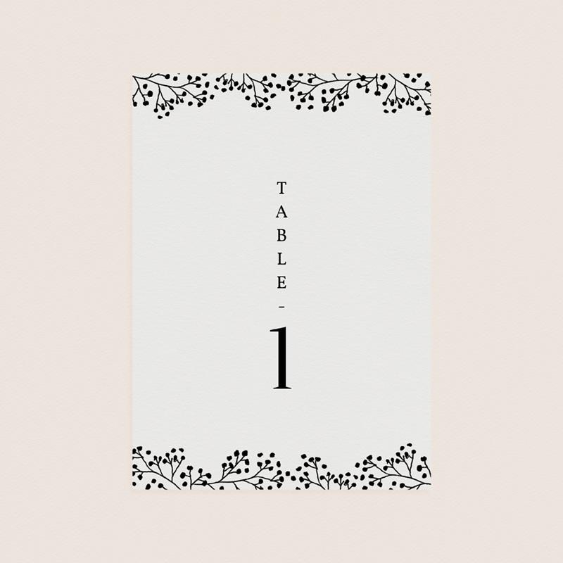 Marque table mariage Brins minimalistes, noir & blanc, x 3 pas cher