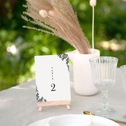 Marque table mariage Brins minimalistes, noir & blanc, x 3 gratuit