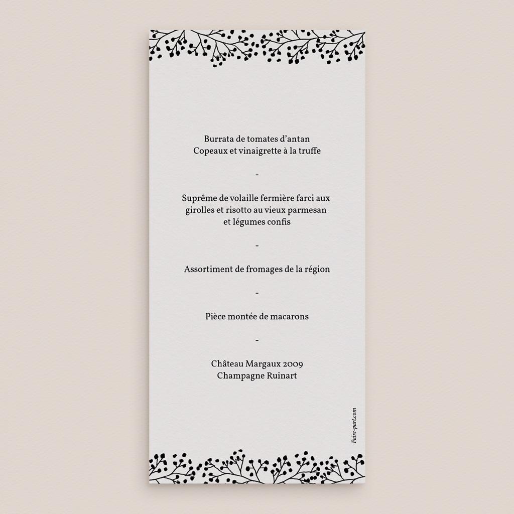 Menu mariage Brins minimalistes, noir & blanc, 10 x 21 pas cher