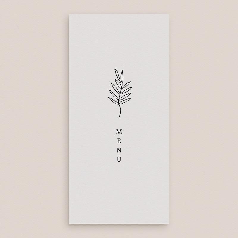 Menu mariage Brins minimalistes, noir & blanc, 10 x 21 gratuit