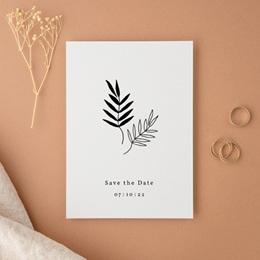 Save-the-date mariage Brins minimalistes, noir & blanc, 10 x 14