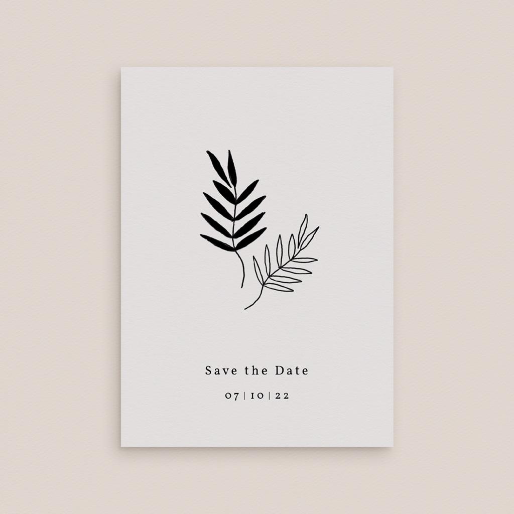 Save-the-date mariage Brins minimalistes, noir & blanc, 10 x 14 gratuit