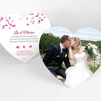 Carte de remerciement mariage Pétales rose