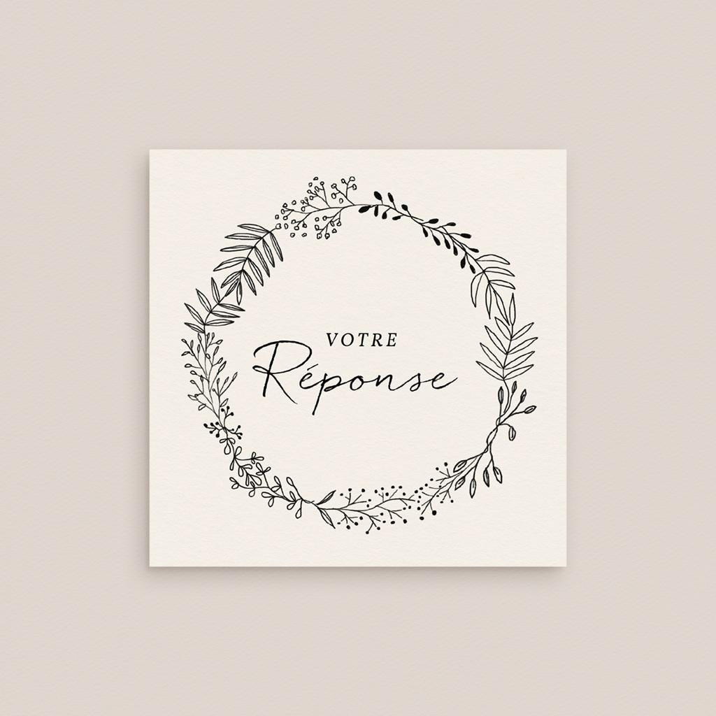 Carton réponse mariage Couronne végétale monochrome, Rsvp gratuit