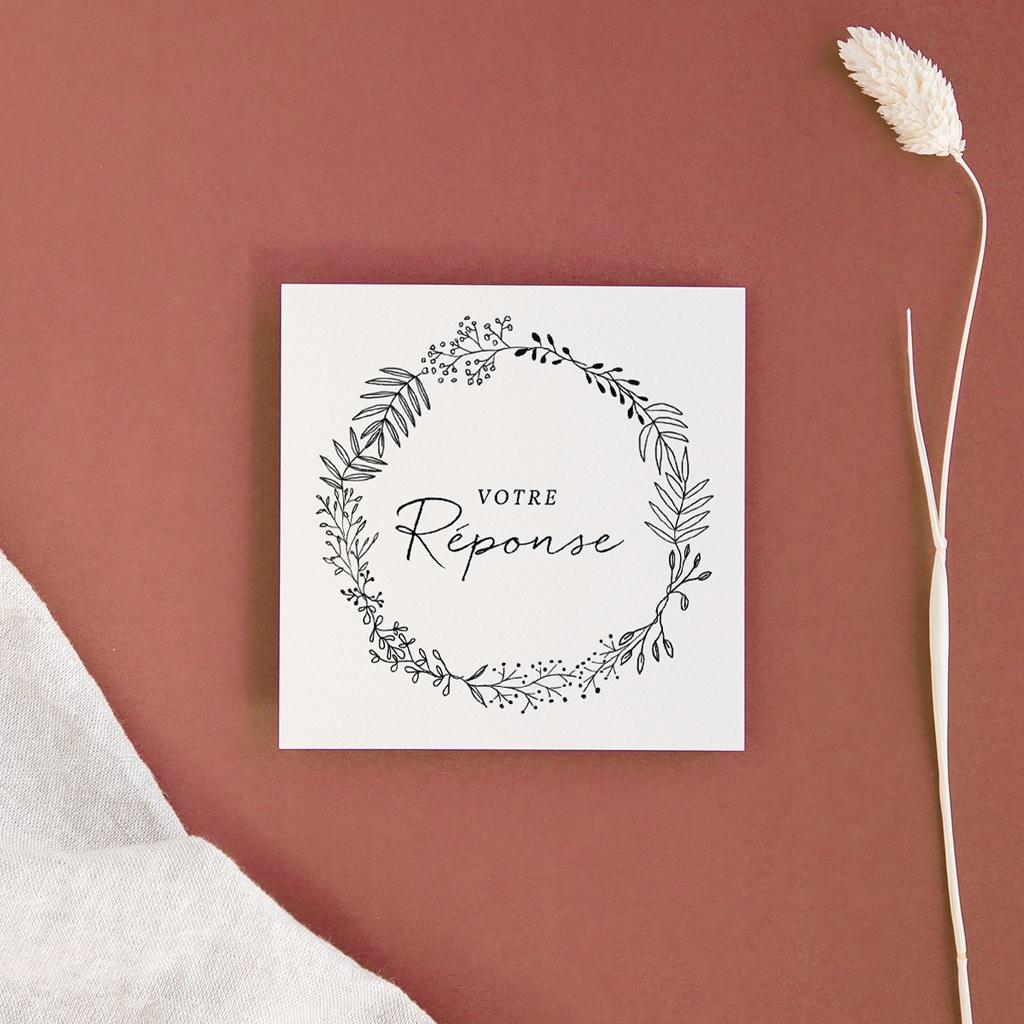 Carton réponse mariage Couronne végétale monochrome, Rsvp