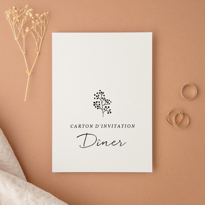 Carte d'invitation mariage Couronne végétale monochrome, Réception