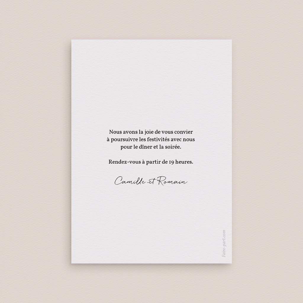 Carte d'invitation mariage Couronne végétale monochrome, Réception pas cher