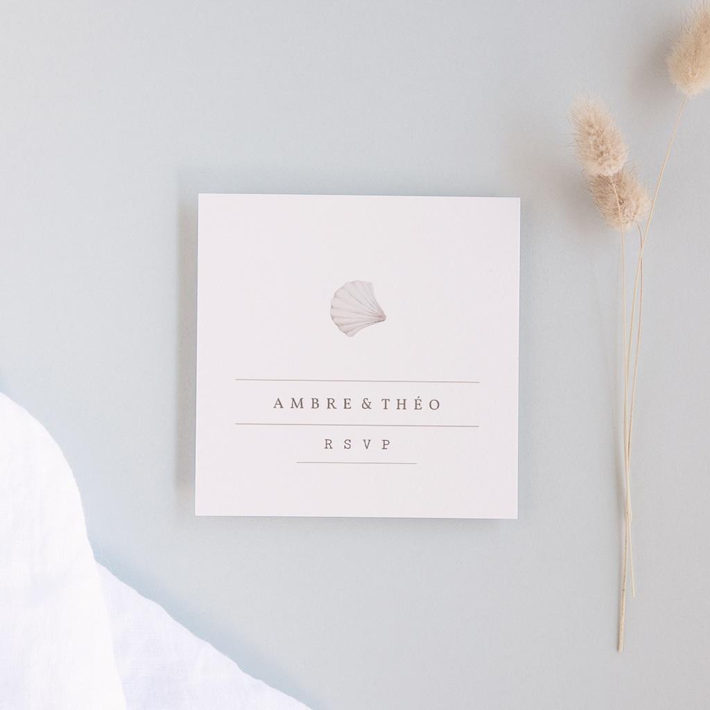 Carton réponse mariage Coquillages épurés, Rsvp