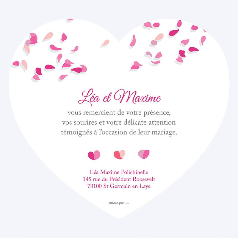 Carte de remerciement mariage Pétales rose gratuit