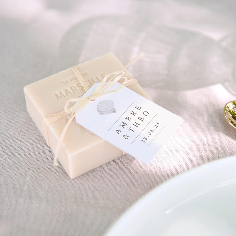 Etiquettes cadeaux mariage Coquillages épurés, 6 x 4