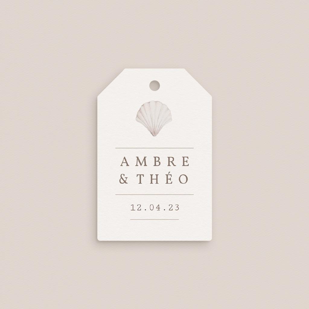 Etiquettes cadeaux mariage Coquillages épurés, 6 x 4 gratuit