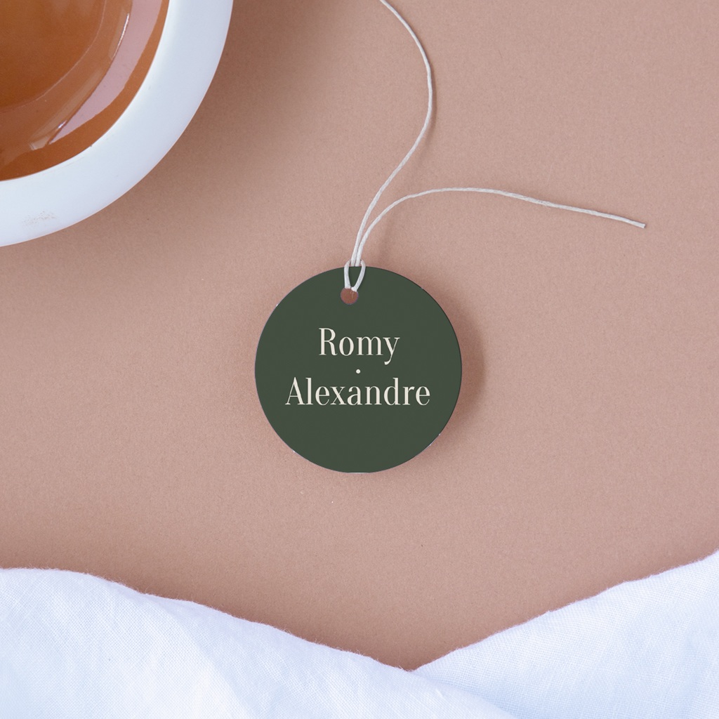 Etiquettes cadeaux mariage Typographie & Couleur, 4,5 cm