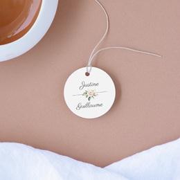 Etiquettes cadeaux mariage Kraft et Rose, 4,5 cm, perforée