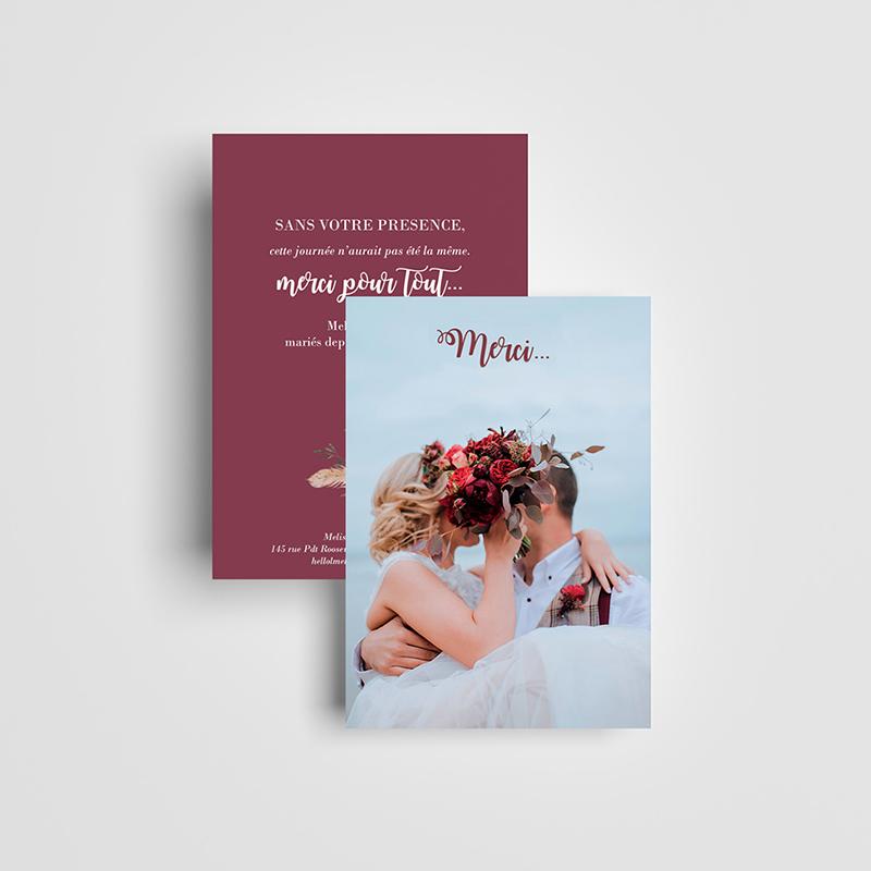 Carte de remerciement mariage Boho
