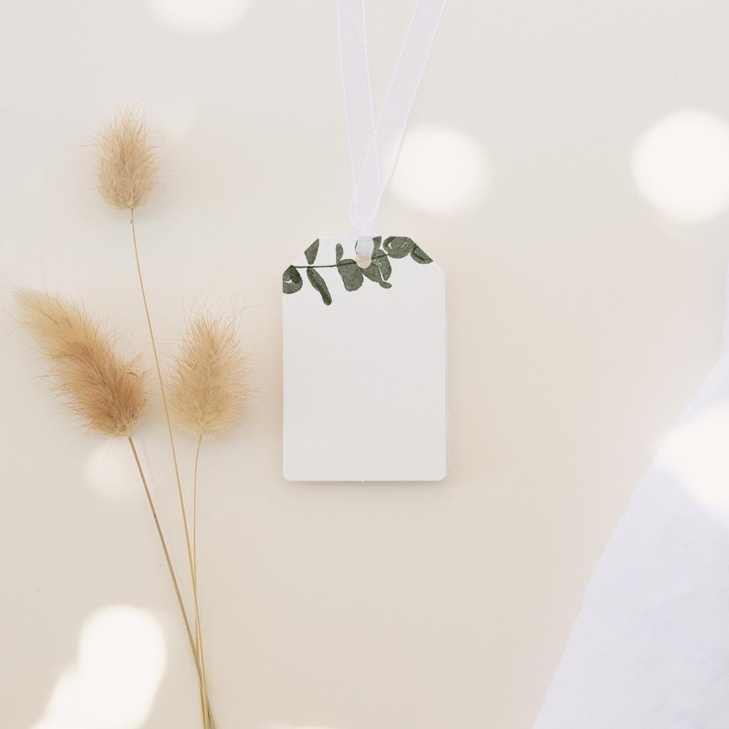 Marque-place mariage Eucalyptus Herbarium, invité placé