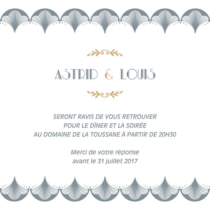 Carte d'invitation mariage Mistinguett pas cher