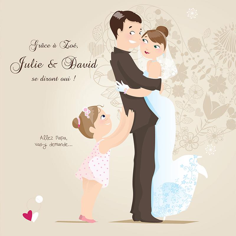 Faire-part de mariage Youpi 1 fille pas cher