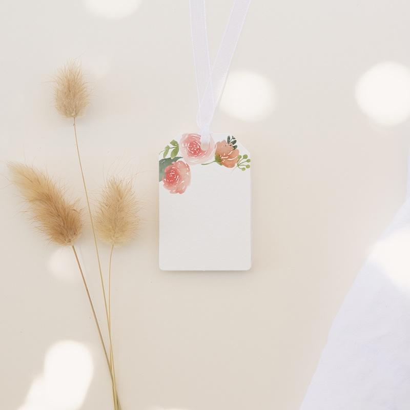 Marque-place mariage Fleurs d'aquarelle Kraft