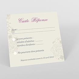Carton réponse mariage Mariage ivoire coeur