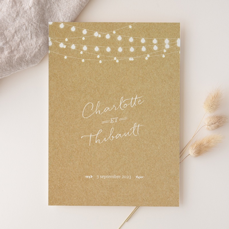 Faire-part de mariage Perfect Day Kraft Grand Rectangle Simple