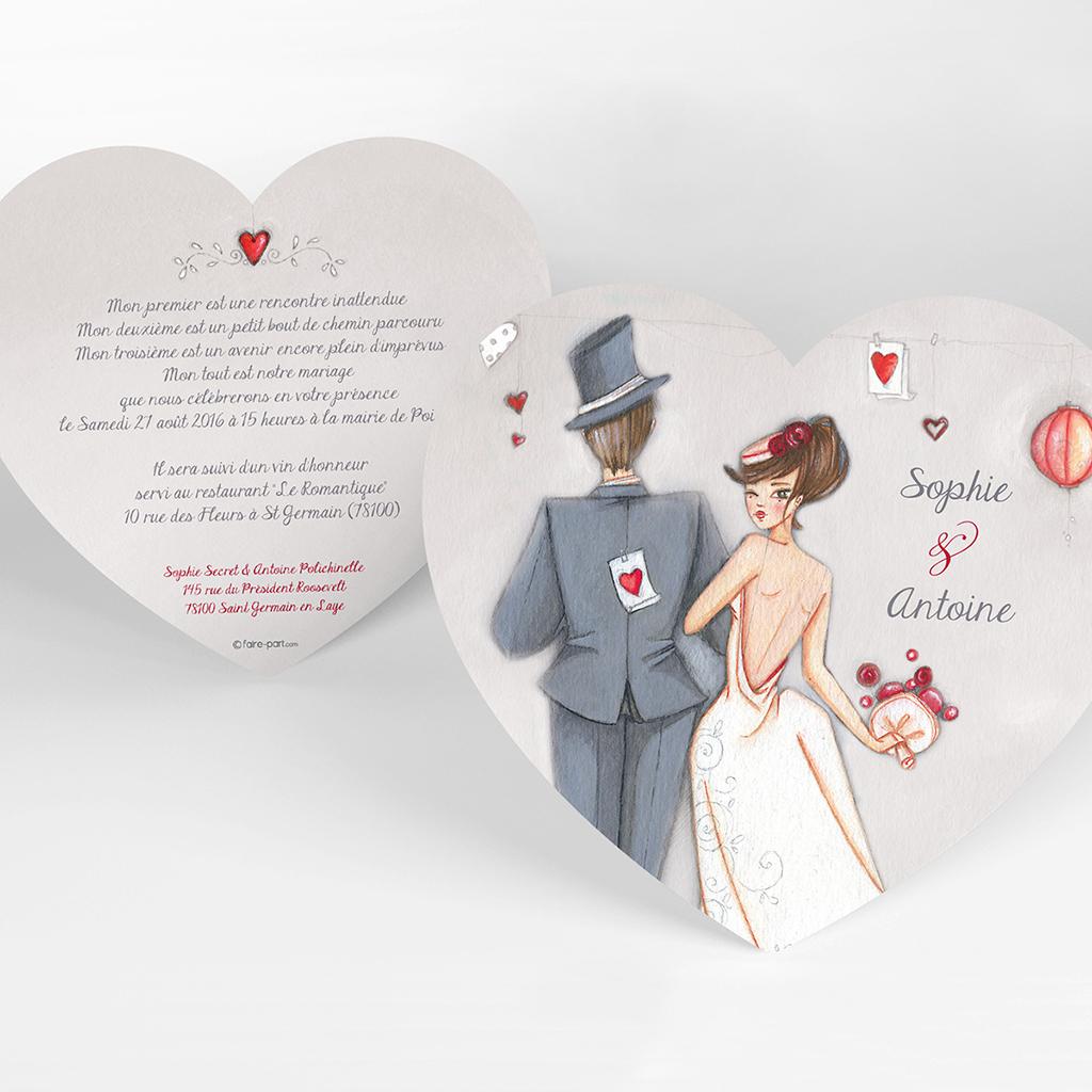 Faire-part de mariage Tendre espièglerie gris vert