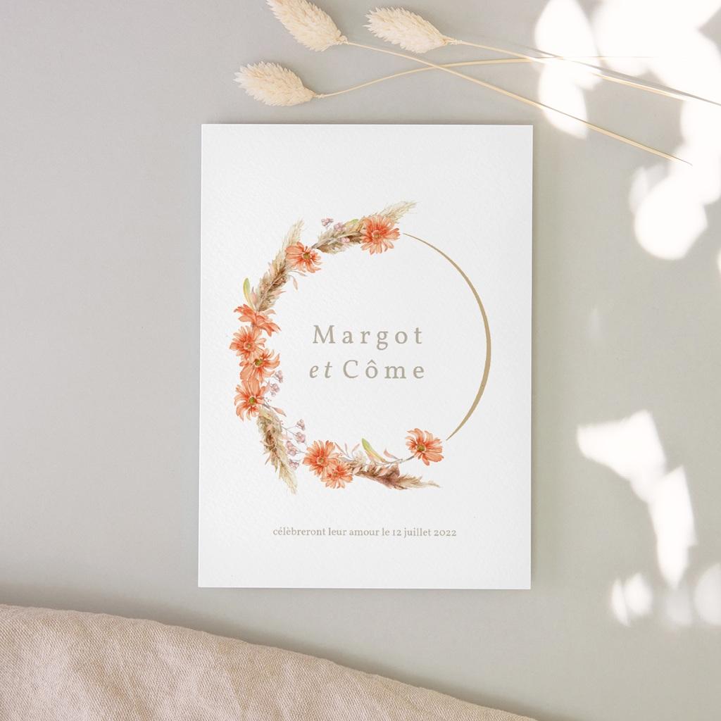 Faire-part de mariage Harmonie Florale & dorure