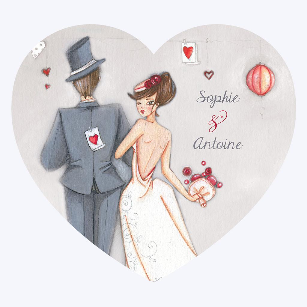 Faire-part de mariage Tendre espièglerie gris vert pas cher
