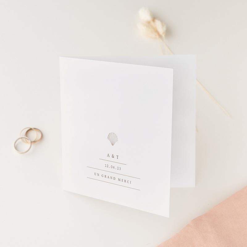 Carte de remerciement mariage Coquillages épurés, photo, 14 x 14