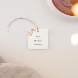 Etiquettes cadeaux mariage Médaillon Floral, carré à nouer
