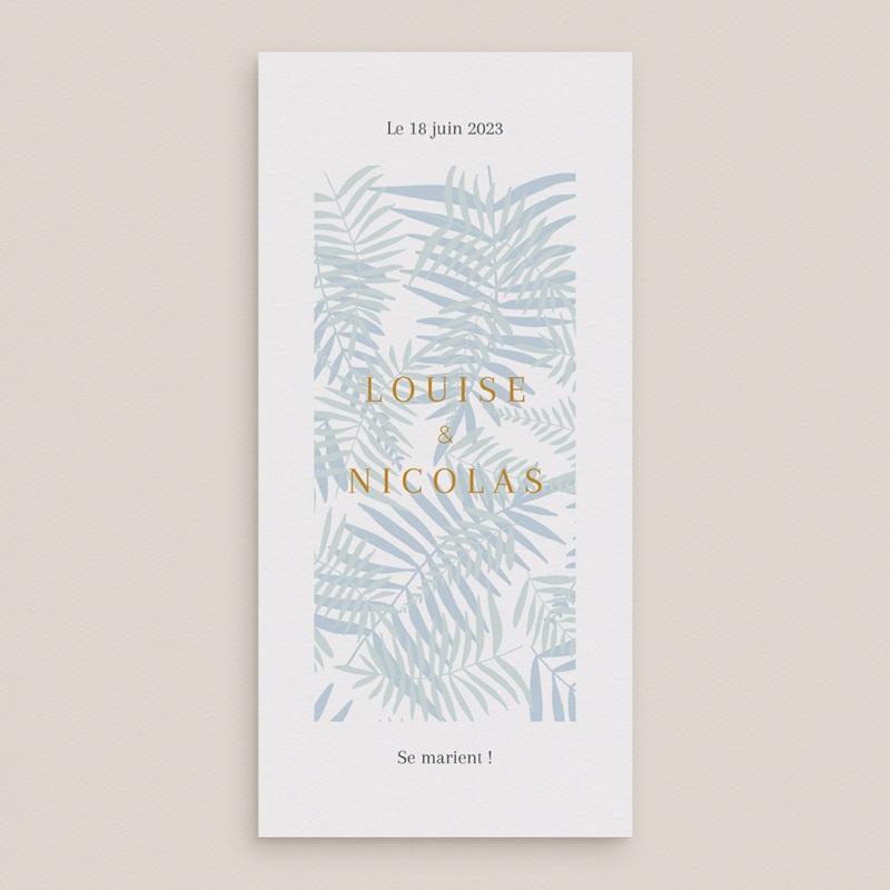 Menu mariage Soft Jungle, 10 x 21 cm gratuit