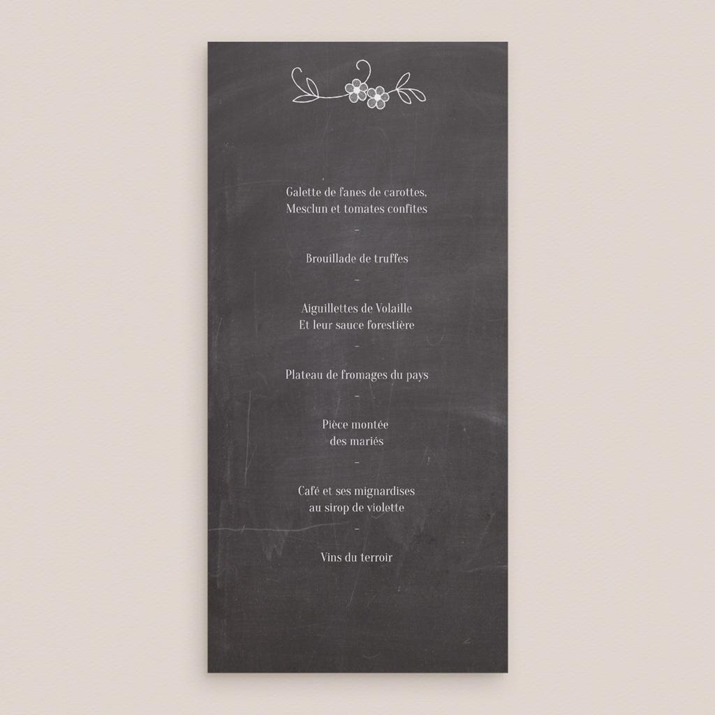 Menu mariage Ardoise, 10 x 21 cm pas cher