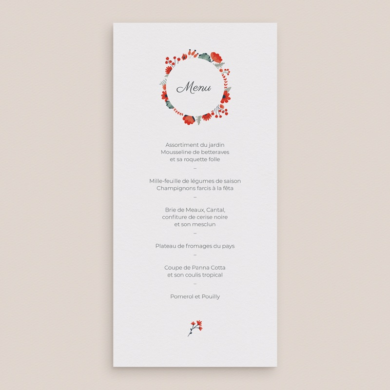 Menu mariage Poppy, 10 x 21 cm gratuit