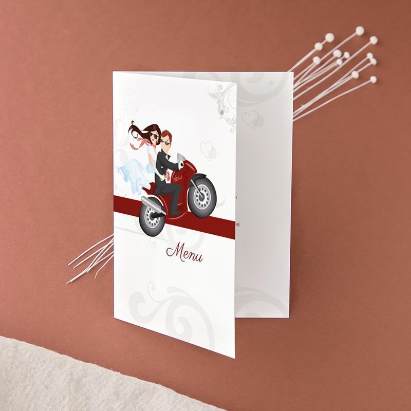 Menu mariage Une moto pour 2, 12 x 17 cm