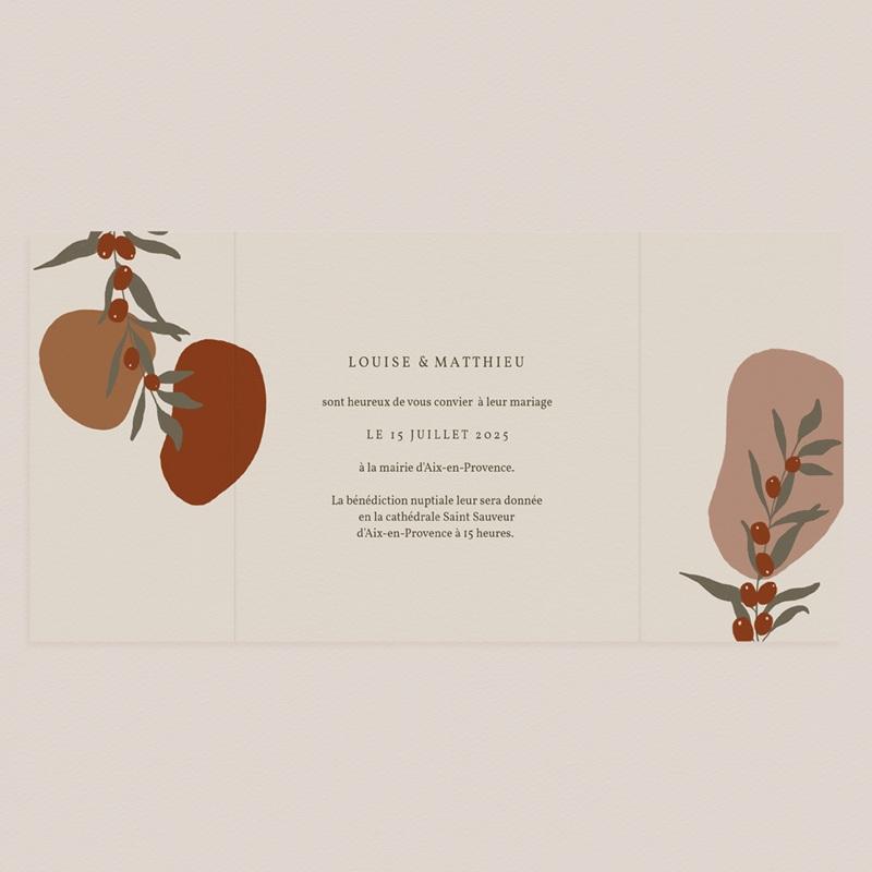 Faire-part de mariage Rameau bohème, 3 volets, 15 x 14,5 cm pas cher