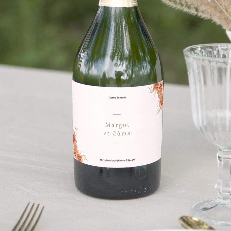 Etiquette bouteille mariage Harmonie Florale, 13 x 8 cm