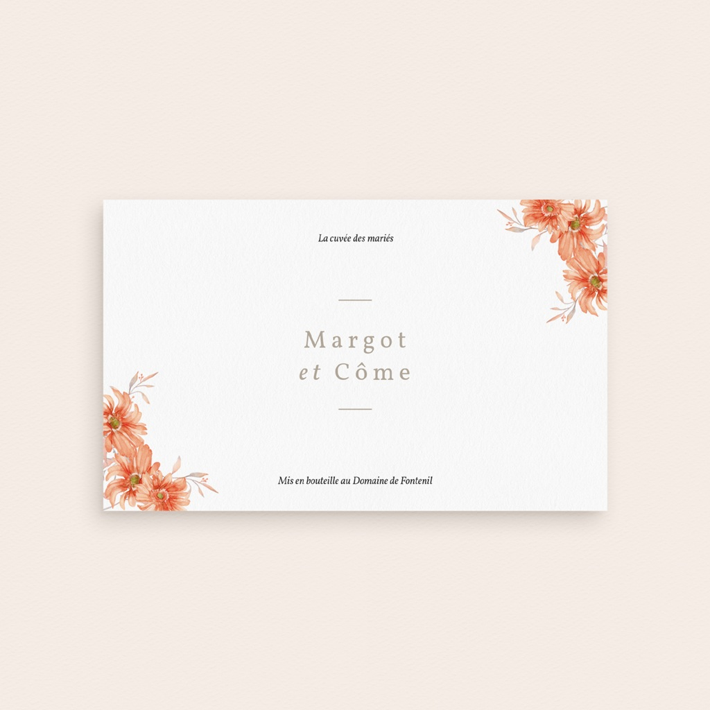 Etiquette bouteille mariage Harmonie Florale, 13 x 8 cm pas cher