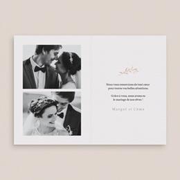 Carte de remerciement mariage Harmonie Florale, 2 photos, double volet pas cher