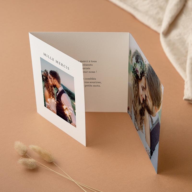 Carte de remerciement mariage Pastel de Fleurs & Feuillage, 3 volets décalés