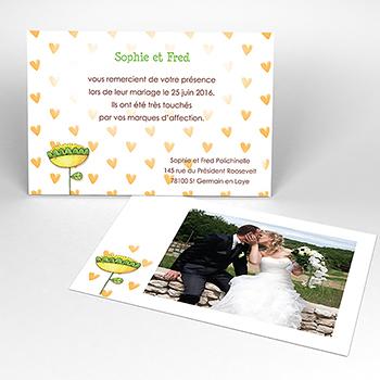 Carte de remerciement mariage Ouizz