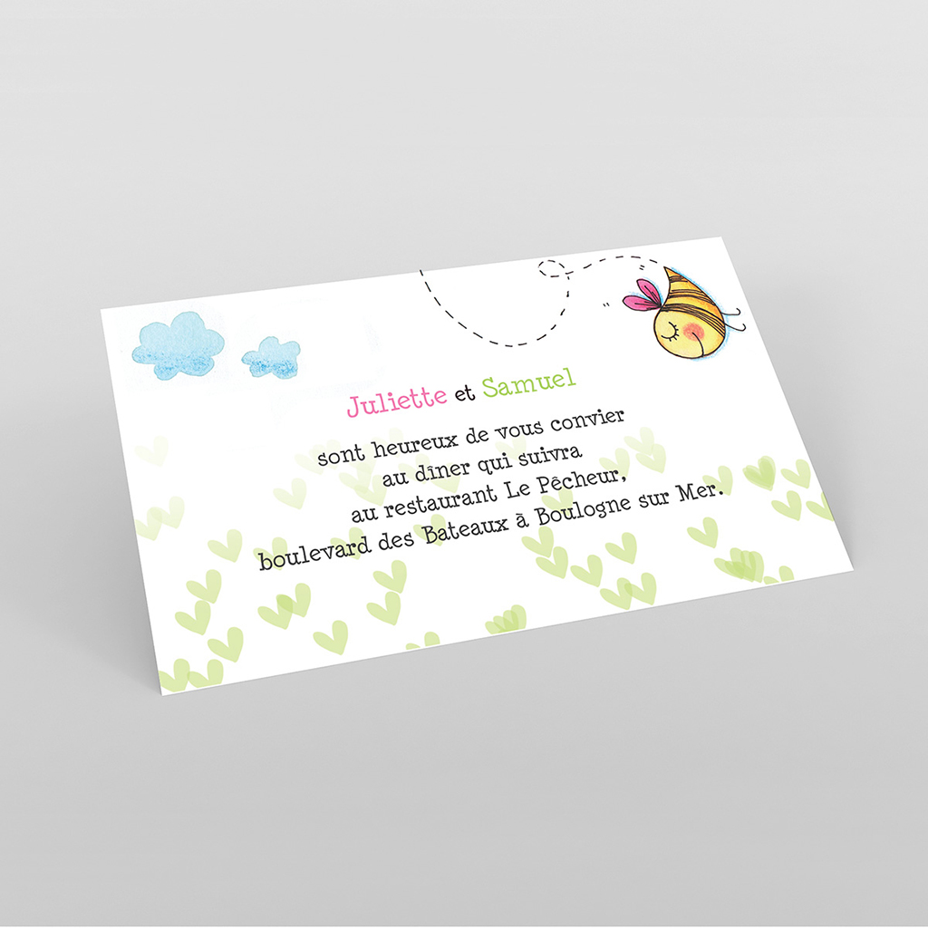 Carte d'invitation mariage Abeilles