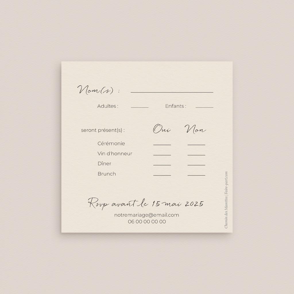 Carton réponse mariage Herbier Mots doux, Rsvp, 10 x 10 pas cher