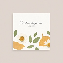 Carton réponse mariage Herbier Mots doux, Rsvp, 10 x 10 gratuit